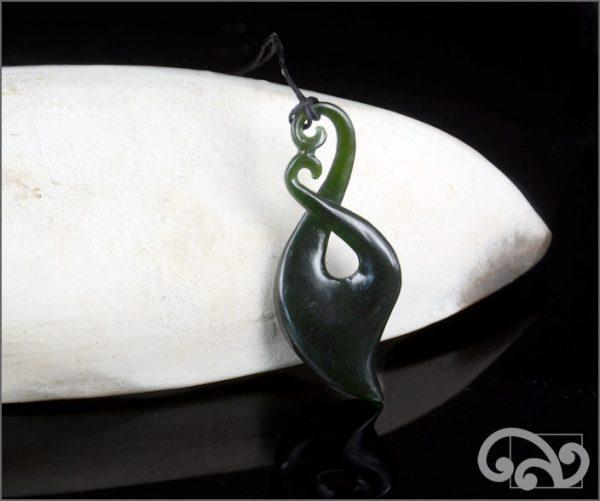 Dark greenstone twist pendant