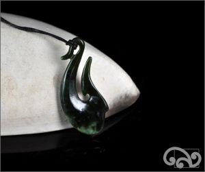 Greenstone fishook pendants