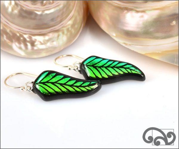 Green glass fern earrings