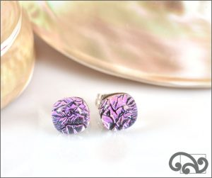Dichroic glass stud earrings, purple
