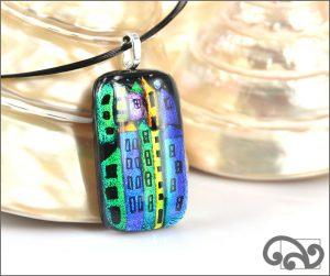 Houses rectangular glass pendant