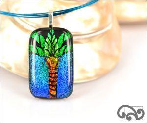 Palm tree glass pendants