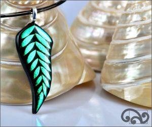 Green fern glass pendant