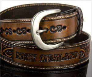 Maori design leather belts