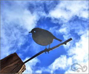 Metal birds black robin